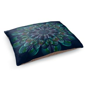 Decorative Dog Pet Beds | Pam Amos - Quilted Flower Ocean Blue | Circular nature floral mandala geometric pattern