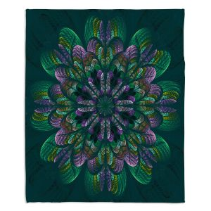 Decorative Fleece Throw Blankets | Pam Amos - Quilted Flower Teal | Circular nature floral mandala geometric pattern