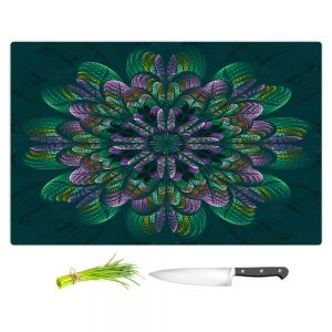 Artistic Kitchen Bar Cutting Boards   Pam Amos - Quilted Flower Teal   Circular nature floral mandala geometric pattern