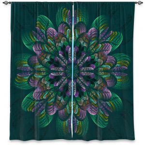 Decorative Window Treatments | Pam Amos - Quilted Flower Teal | Circular nature floral mandala geometric pattern