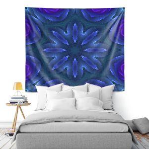 Artistic Wall Tapestry   Pam Amos - Rippled Blues   Mandala shapes geometric