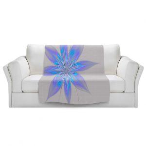 Artistic Sherpa Pile Blankets | Pam Amos - Silk Flower Light Blue | nature floral