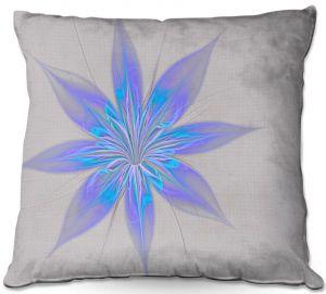 Decorative Outdoor Patio Pillow Cushion | Pam Amos - Silk Flower Light Blue | nature floral