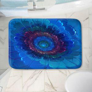 Decorative Bathroom Mats | Pam Amos - Silken Blues | Flower Floral abstract close up circular