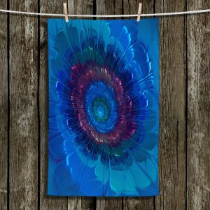 Unique Bathroom Towels | Pam Amos - Silken Blues | Flower Floral abstract close up circular