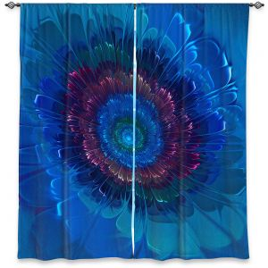 Decorative Window Treatments | Pam Amos - Silken Blues | Flower Floral abstract close up circular