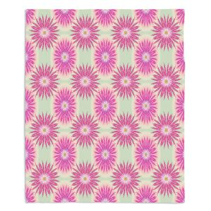 Artistic Sherpa Pile Blankets | Pam Amos - Spikey Flower Pattern Pink | floral repetition