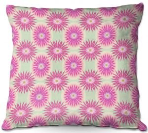 Decorative Outdoor Patio Pillow Cushion | Pam Amos - Spikey Flower Pattern Pink | floral repetition