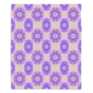 Artistic Sherpa Pile Blankets | Pam Amos - Spikey Flower Pattern Purple | floral repetition