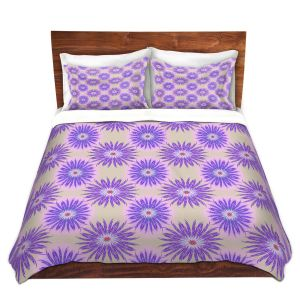 Artistic Duvet Covers and Shams Bedding | Pam Amos - Spikey Flower Pattern Purple | floral repetition