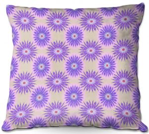 Decorative Outdoor Patio Pillow Cushion | Pam Amos - Spikey Flower Pattern Purple | floral repetition