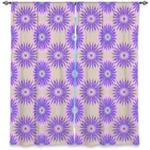 Decorative Window Treatments | Pam Amos - Spikey Flower Pattern Purple | floral repetition