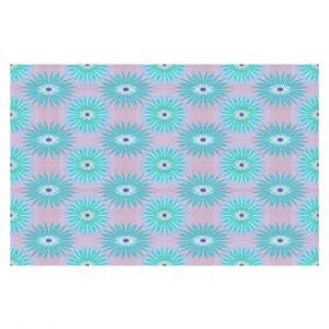 Decorative Floor Covering Mats | Pam Amos - Spikey Flower Pattern Teal | floral repetition