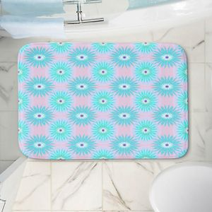Decorative Bathroom Mats | Pam Amos - Spikey Flower Pattern Teal | floral repetition