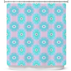 Premium Shower Curtains | Pam Amos - Spikey Flower Pattern Teal | floral repetition