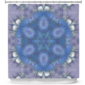 Premium Shower Curtains | Pam Amos - Star Struck 2 Blues | Circular mandala shapes geometric