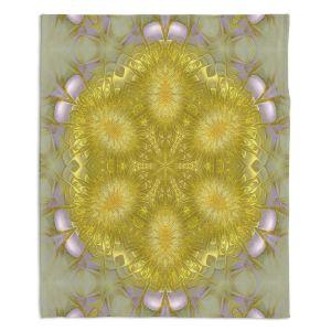Decorative Fleece Throw Blankets | Pam Amos - Star Struck 2 Yellow | Circular mandala shapes geometric