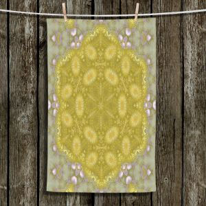 Unique Hanging Tea Towels | Pam Amos - Star Struck 3 Yellow | Circular mandala shapes geometric