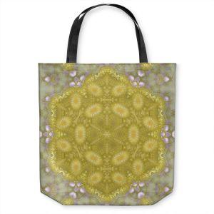 Unique Shoulder Bag Tote Bags | Pam Amos - Star Struck 3 Yellow | Circular mandala shapes geometric