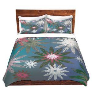 Artistic Duvet Covers and Shams Bedding | Pam Amos - Starburst Blue Green | digital flower pattern