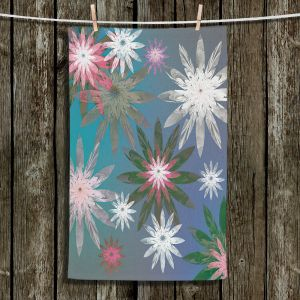 Unique Bathroom Towels | Pam Amos - Starburst Blue Green | digital flower pattern