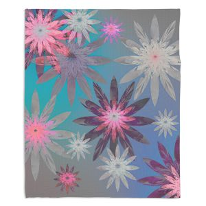 Decorative Fleece Throw Blankets | Pam Amos - Starburst Blue PInk | digital flower pattern