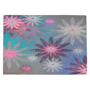 Countertop Place Mats | Pam Amos - Starburst Blue PInk | digital flower pattern