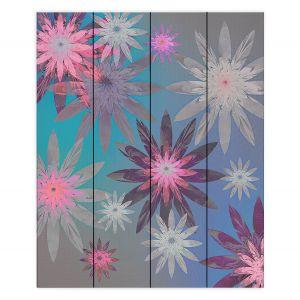 Decorative Wood Plank Wall Art | Pam Amos - Starburst Blue PInk | digital flower pattern