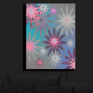 Nightlight Sconce Canvas Light | Pam Amos - Starburst Blue PInk | digital flower pattern