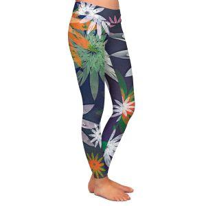 Casual Comfortable Leggings | Pam Amos - Starburst Navy | digital flower pattern