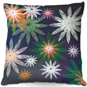 Throw Pillows Decorative Artistic | Pam Amos - Starburst Navy | digital flower pattern