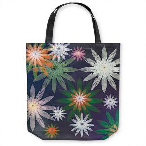 Unique Shoulder Bag Tote Bags | Pam Amos - Starburst Navy | digital flower pattern