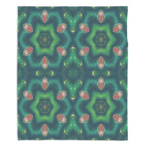 Decorative Fleece Throw Blankets | Pam Amos - Teardrops Green | Mandala shapes geometric