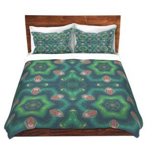Artistic Duvet Covers and Shams Bedding   Pam Amos - Teardrops Green   Mandala shapes geometric