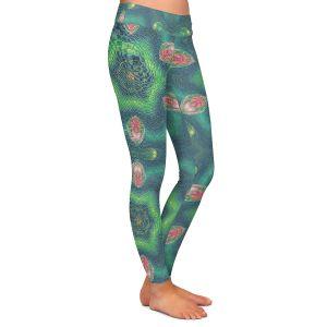 Casual Comfortable Leggings   Pam Amos - Teardrops Green   Mandala shapes geometric