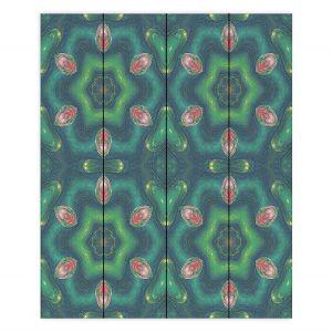 Decorative Wood Plank Wall Art | Pam Amos - Teardrops Green | Mandala shapes geometric
