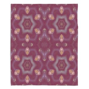 Decorative Fleece Throw Blankets | Pam Amos - Teardrops Red | Mandala shapes geometric