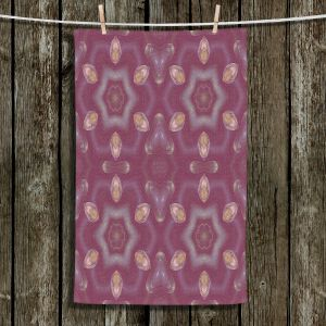 Unique Hanging Tea Towels | Pam Amos - Teardrops Red | Mandala shapes geometric