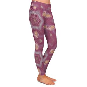 Casual Comfortable Leggings | Pam Amos - Teardrops Red | Mandala shapes geometric