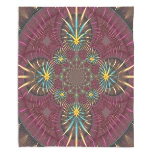 Decorative Fleece Throw Blankets | Pam Amos - Wheel of Zirgon 2 | Geometric Pattern