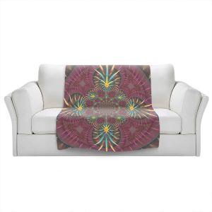 Artistic Sherpa Pile Blankets | Pam Amos - Wheel of Zirgon 2 | Geometric Pattern