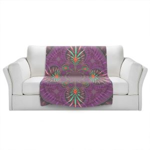 Artistic Sherpa Pile Blankets | Pam Amos - Wheel of Zirgon 3 | Geometric Pattern