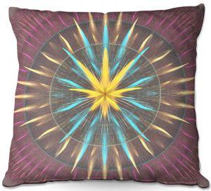 Throw Pillows Decorative Artistic | Pam Amos - Wheel of Zirgon | Circular mandala shapes geometric