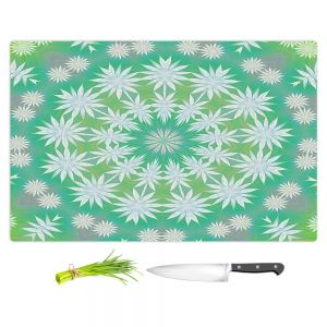 Artistic Kitchen Bar Cutting Boards | Pam Amos - White Flowers Spin | Circular mandala shapes geometric floral snow