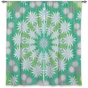 Decorative Window Treatments | Pam Amos - White Flowers Spin | Circular mandala shapes geometric floral snow