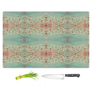 Artistic Kitchen Bar Cutting Boards | Paper Mosaic Studio - Abstract Turquoise Red