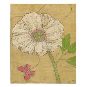 Artistic Sherpa Pile Blankets | Paper Mosaic Studio - Aerial Maneuvers | Flower print butterfly