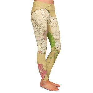 Casual Comfortable Leggings | Paper Mosaic Studio - Aerial Maneuvers | Flower print butterfly