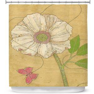 Premium Shower Curtains | Paper Mosaic Studio - Aerial Maneuvers | Flower print butterfly