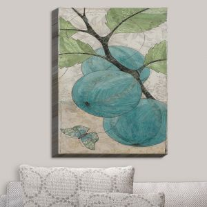 Decorative Canvas Wall Art | Paper Mosaic Studio - Blue Bells | Nature Berries Butterflies